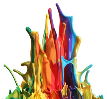 paint splashing with many colors